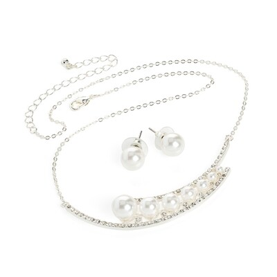 White pearl effect & crystal necklace, stud earring set