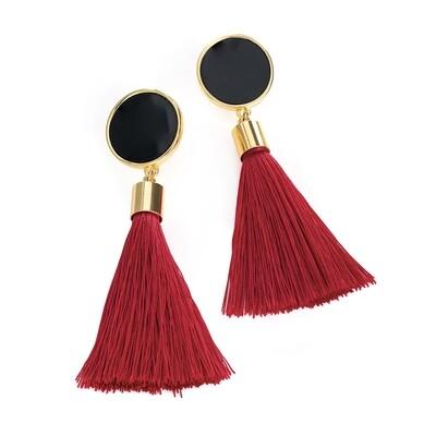 Black and burgundy colour tassel earring