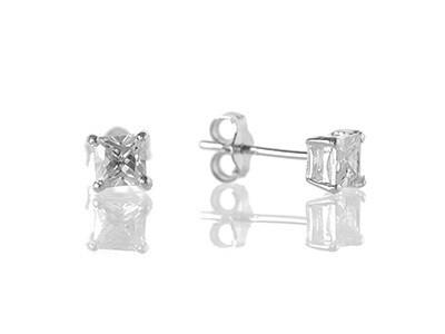 Silver CZ Stud Earrings, 4mm