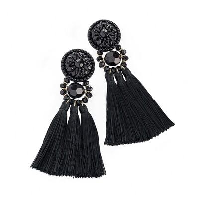 Black tone thread tassel drop earring