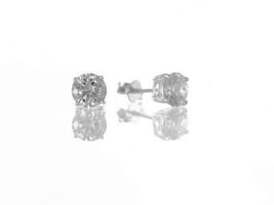 Silver Round Cubic Zirconia Stud Earrings