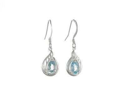 Silver Genuine Blue Topaz Dropper Earrings