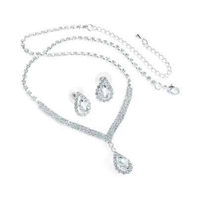 Silver colour crystal tear drop necklace and stud earring set