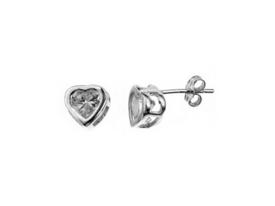 Silver 6mm Heart Shaped CZ Earrings