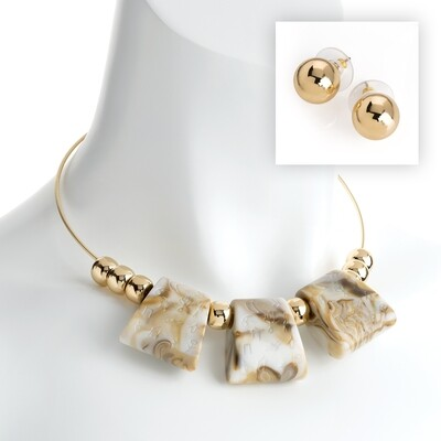 Gold colour white marble effect bead wire necklace and earring set