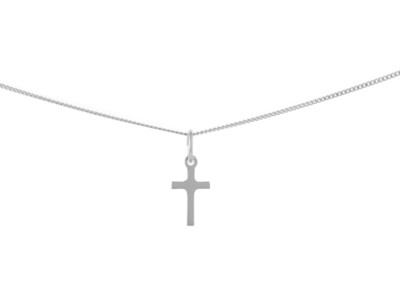 Silver Plain Cross Necklace