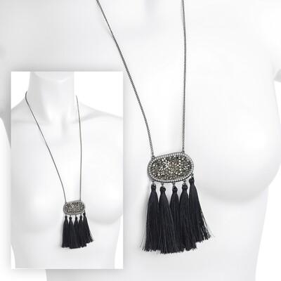 Hematite colour glass bead crystal thread tassel necklace