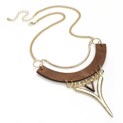 Shiny gold colour wood look design chain necklace