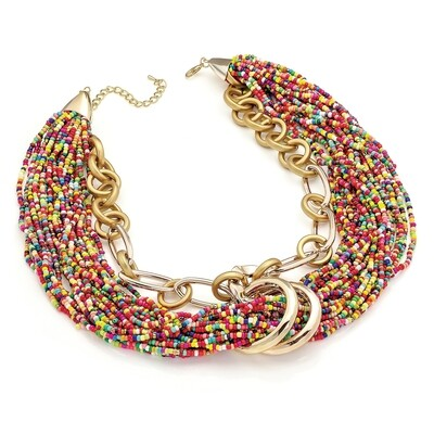 Shiny and matt gold colour multi seed bead look chain necklace