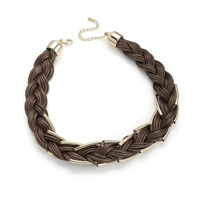 Brown cord gold colour tube effect plaited necklace