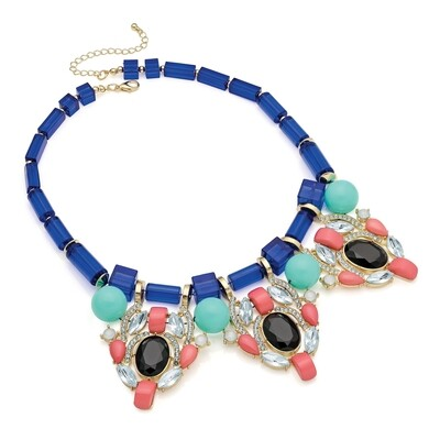 Shiny gold colour blue, peach and black bead statement necklace