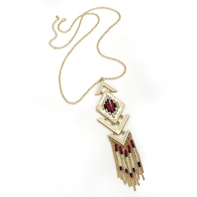 Shiny gold colour red tone bead chain tassel necklace