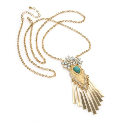 Shiny gold crystal turquoise bead effect chain charm necklace