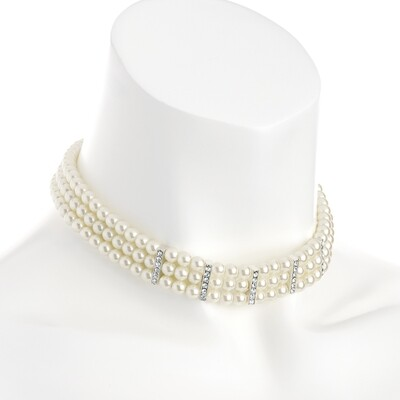 Three row silver colour crystal cream pearl effect choker necklace