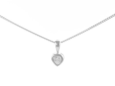 Silver White Heart Cubic Zirconia Necklace