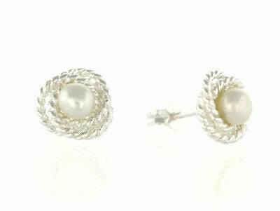Silver Freshwater Pearl Studs
