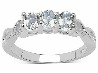 Silver-White Topaz Ring