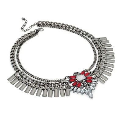 Hematite grey colour red and clear bead chain statement necklace