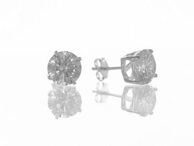 Silver 8mm Round CZ Stud Earrings