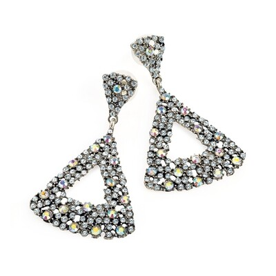 Burnished silver crystal and AB crystal triangle design drop earring