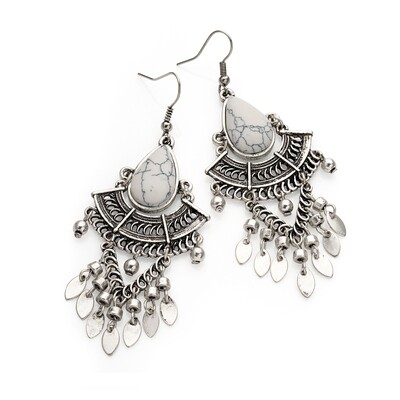 Burnished silver colour white marble effect tribal look drop earring