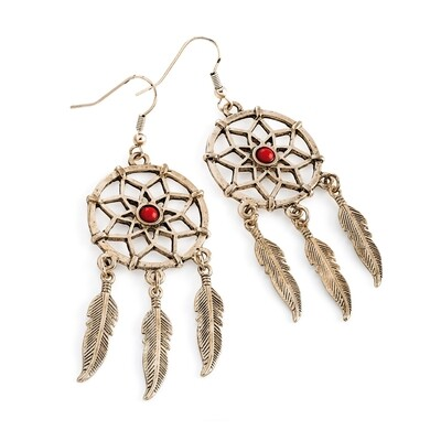Rose gold colour coral bead dream catcher charm earring