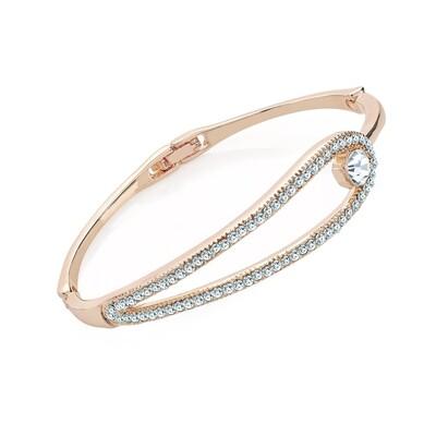 Light rose gold colour crystal hinge bangle