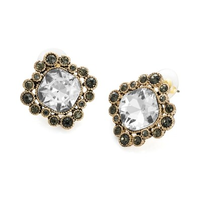 Earring Studs Antique gold, crystal and black colour