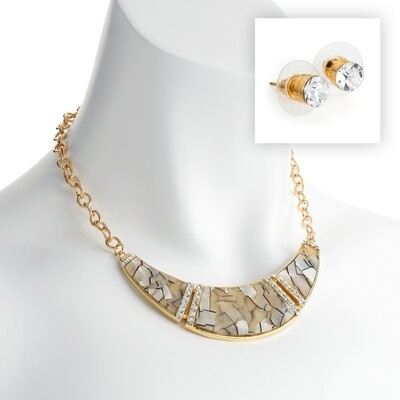 Gold colour crystal and white marble effect chain necklace and stud earring set