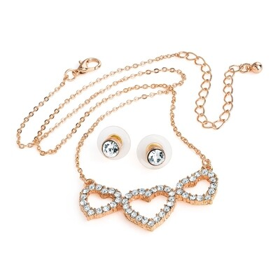 Rose gold colour crystal three heart design chain necklace and earring set