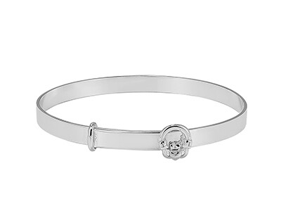 Silver Claddagh Christening Bangle