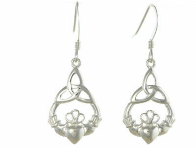 Silver Claddagh Dropper Earrings