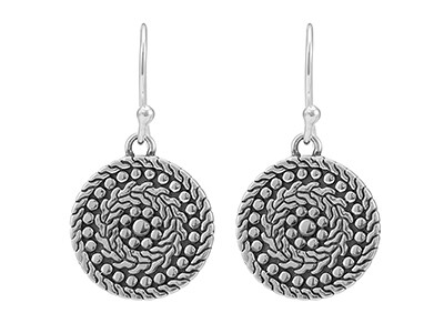 Silver Antique Finish Dropper Earrings
