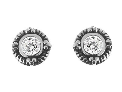 Silver Antique Finish Round CZ Studs