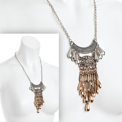 Two tone burnished silver and rose gold colour owl design chain tassel necklace