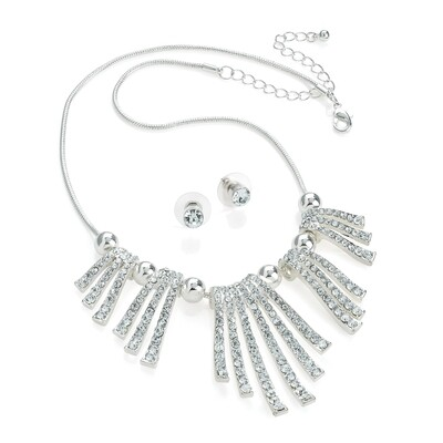 Silver colour crystal spray design chain necklace and stud earring set