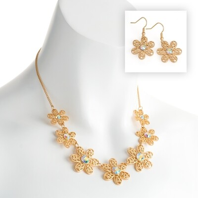 Matt gold colour crystal flower design chain necklace and earring set