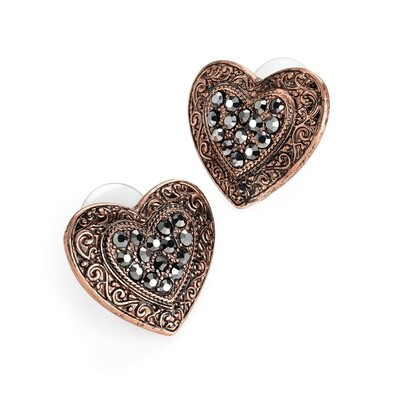 Burnished rose gold and hematite colour heart design stud earring
