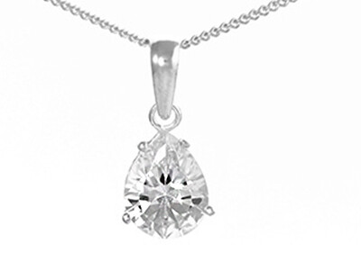 Silver Pear Shaped CZ Pendant Necklace