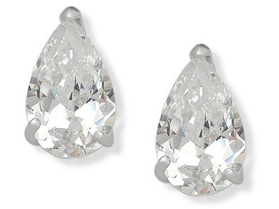 Silver Pear Shaped CZ Studs