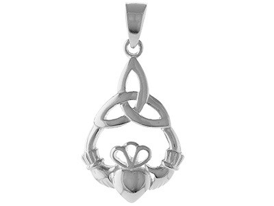 Silver Claddagh Pendant with 18