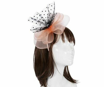 Peach large floral and net fascinator headband