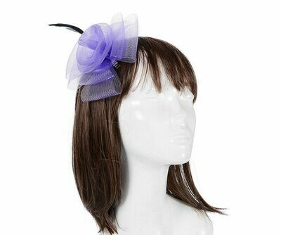 Purple floral and feather fascinator clip