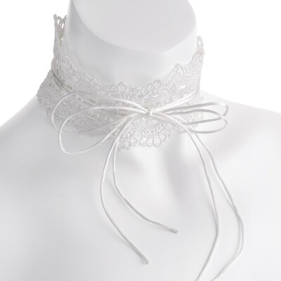 White lace effect double string tie effect choker