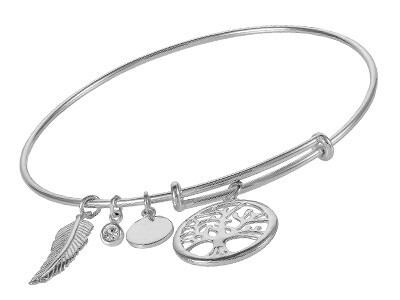 Silver Expanding Bangle, with 4 Charms