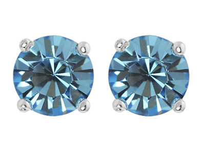 Silver 6mm Round Blue CZ Stud Earrings