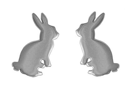 New Silver Rabbit Stud Earrings