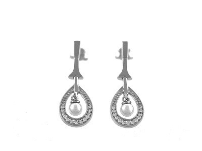 Silver Simulated Pearl Dropper Earrings