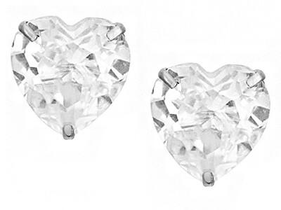 Silver 8mm 3 Claw Heart CZ Stud Earrings