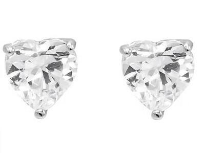 Silver 6mm 3 Claw Heart CZ Stud Earrings